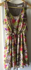 LUSH Womens Green Strappy Floral Y-Back Blouson Dress Size Small