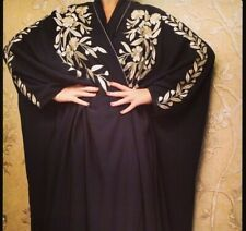 Black Batwing Gold Embroidery open Abaya Dubai Kimono Kaftan With Scarf Wide