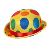 Adult Clown Bowler Hat Fancy Dress Accessory Circus Coco Carnival Spotty