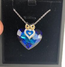 J.NINA Necklace Jewelry Owl of Minerva Bermuda Blue Heart Pendant