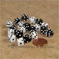 NEW 20 Black & White Miniature 8mm Small 6 sided RPG MTG Game Dice Set Mini D6