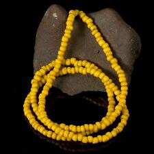 "Rare Antique Yellow Tribal Trade Glass Bead Strand 23.74"" Western-Papua 18.12 g"