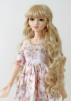 "1/3 bjd 8-9"" doll head beige blonde curly wig dollfie Luts Iplehouse JD417SM476L"