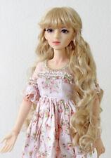 """1/3 bjd 8-9"""" doll head beige blonde curly wig dollfie Luts Iplehouse JD417SM476L"""