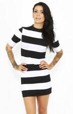 New Motel Rocks Maybelline dress black white stripe 60s mod bodycon bnwt XS 8