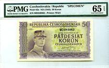 Czechoslovakia Republic Nd 1945 Specimen Pick 62 s Lucky Money Value $140