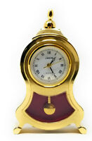 Miniature Table Clock, Full Brass Novelty - Vintage Classic Pendulum Designs