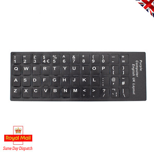 2 Sets UK QWERTY Keyboard Key Cap Replacement Character Vinyl Decal Stickers