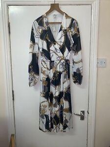 River Island Scarf Chain Tassel Grecian Design Summer White Pleat Midi Dress 10