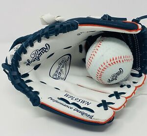 "Rawlings 9.5"" Tee Ball Baseball Softball Glove Right Hand w/Ball Red White Blue"