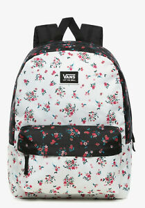 VANS Realm Classic Backpack Beauty Floral Patchwork Black White