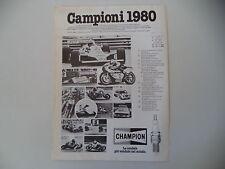 advertising Pubblicità 1981 CHAMPION e ALAN JONES/KENNY ROBERTS/ANDRE' MALHERBE
