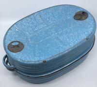 "Vintage 18"" Lisk Enamelware Graniteware Roaster Blue & White Speckled 7"" tall"