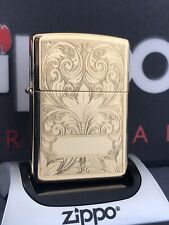 ZIPPO LIGHTER GOLD PLATED FLORAL FACE DESIGN 1992 RARE & COLLECTIBLE (320A)