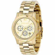 NEW MK5055 NEW MICHAEL KORS LADIES RUNWAY CHRONOGRAPH DIAL GOLD BAND DATE WATCH