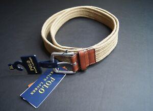 POLO RALPH LAUREN Men's Brown Braided Stretch Belt NEW NWT $75