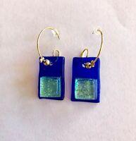 Fused Dichroic Glass Dangle Earrings Handmade