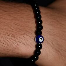 Evil Eye Black Onyx Bead Real Stone Mens Stretch Elastic Bracelet