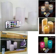 Set 3 Candele Luce LED Multicolore in Cera Profumate lavanda con Telecomando