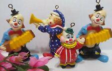 Clown Christmas Ornament Lot of 4