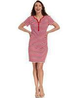 Karen Scott Women's NEW SMALL Red White Stripe Cotton Henley Dress buttons tags