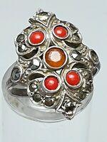 Antiker 800 Silber Ring um 1890/1900 Korallen besetzt RG 48/15,3mm /A407