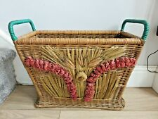 Stunning Original 1940s Wicker & Rafia Flowers Magazine/ Newspaper Rack/ Basket