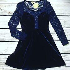 Cecico Navy Blue Velvet & Lace Skater Party Dress Size S