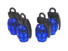 Válvula De Neumático Rueda de Automóvil Granada Azul Metal Conjunto de 4 casquillos de polvo FIAT CITROEN BMW