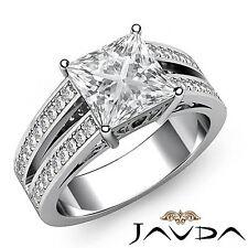 Princess Diamond Split Shank Engagement Ring GIA G SI1 14k White Gold 1.75 ct