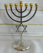 Jewish Star of David 7 Branch Gold and Silver Temple Menorah  - 7 Inches Tall