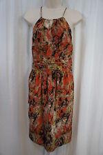 Andrew Marc Dress Sz 12 Orange Brown Multi Color Sleeveless Chic Silk Dress
