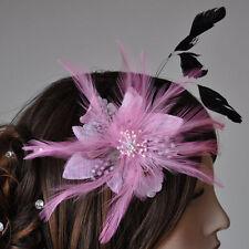 Stoff Blüte Blume Federn Brosche rosa PINK Fascinator Ansteckblume Haarschmuck