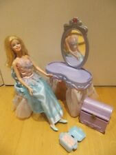 Barbie Fantasy Tales Swan Lake Vanity Set Doll Dressing Table Mirror Chair 2004