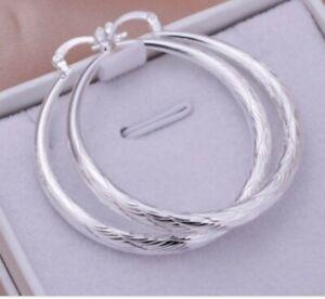 Elegant 925 Sterling Silver Filled Patterned Large Hoop Earrings 40mm  GIFTS