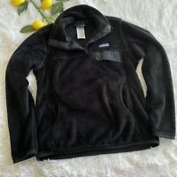 Patagonia Women's Re-Tool Snap-T Fleece Polartec Black Pullover Sweater Small