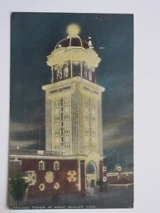 Lakeside Tower at Night in Denver COLORADO 1914 Postcard