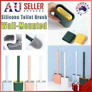 Bathroom Silicone Bristles Toilet Brush with Holder Cleaning Brush Set Creative