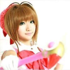 Card Captor Sakura Kinomoto Sakura Short Styled Brown Cosplay Wig+free hairnet