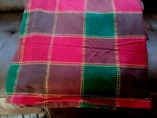 """60"""" x 102"""" Christmas Holiday Tablecloth  Red Green Plaid Gold Rectangle Unused"""