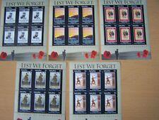 NAURU,2008,LEST WE FORGET,WW1, 5 U/M SHEETS,CAT £67,EXCELLENT.
