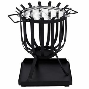 Steel Brazier Square Fire Pit Basket Garden Patio Heater BBQ By Home Discount