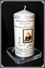 Catholic Mass memorial candle personalised for loved one.