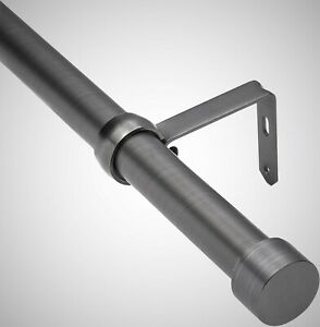 """(NEW) Umbra Pewter Cappa 1-Inch Curtain Rod With 2 Finials & Hardware, 66""""-120"""""""
