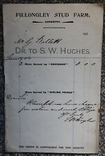 1904 Fillongley Stud Farm Coventry Trade Invoice Horse Kohinoor Birling Prince