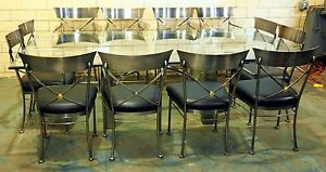 DIA Mixed Metal & Glass Dining Table w/ 12 Chairs by Steel Klismos 8' x 4.5'