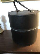 Vintage Black Vinyl Zippered Wig Head Storage Carrier Cosmetology Head Case