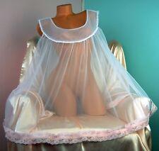 VTG style Antron chiffon nylon sissy sheer night gown Peignoir MINI WHITE XL