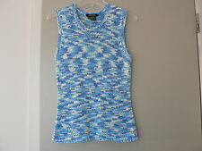 KAREN KANE Knit Top Tank Watercolor Blue Sz M Sleeveless Crew Neck Acrylic Poly