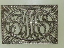 BEAUTIFUL 1930'S ART DECO HARRY ISKIN 470 STERLING MARCASITE INITIAL PIN!